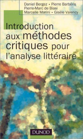 INTRODUCTION AUX METHODES CRITIQUES POUR L'ANALYSE LITTERAIRE