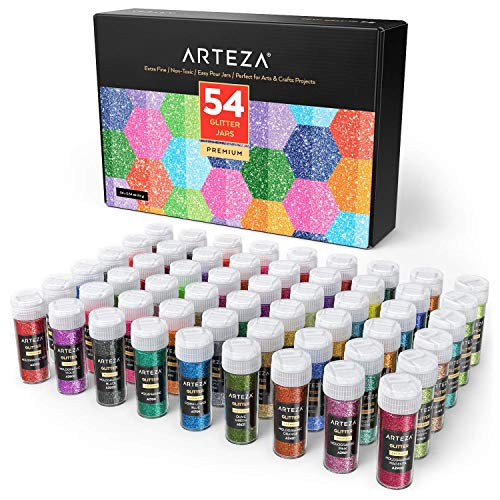 Arteza Fine Glitter, Set of 54 Colours, Shaker Jars (0.34oz/9.6 g) Glow Under UV Black Light, Extra Fine, All Purpose for Body, Face, Slime, Crafts