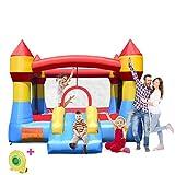 COSTWAY Château Gonflable Aire de Jeux Gonflable avec Toboggan pour Enfant en Tissu Oxford Equipée de Filet Protecteur et Pompe 370 x 280 x 230 CM