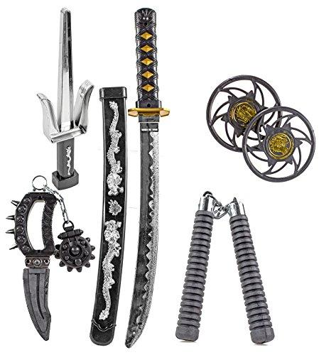 Katana KINDER NINJA Samurai Schwert Kostüm Säbel Dolch Messer XXL Set Zubehör (Ninja Schwert Kostüm)