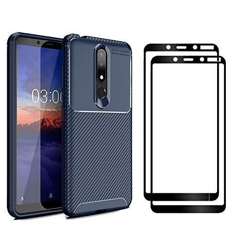 XIFAN Nokia 3.1 Plus Hülle und Displayschutzfolie, [1 Pack] Slim Soft Shockproof Case + [2 Pack] 9H gehärtetes Glas [HD Ultra] für Nokia 3.1 Plus - Blau 1 Pack Slim Case