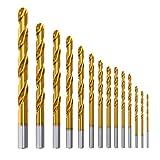 Forets HSS titanium 14PCS Meterk Placage Titanium Forets Set d'Outils Micro Mèche en Acier à Haute Vitesse