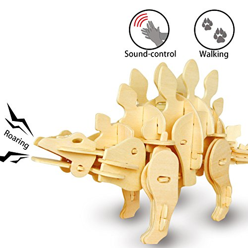 ROKR 3D Holz Dinosaurier Puzzle mit Sound-Kontrolle Roboter Walking T-Rex Modell Spielzeug für Kinder oder Erwachsene Vater Tage Kinder Tage (Mini Stegosaurus) - Roboter-t-rex