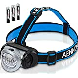 Aennon 7-LR2, LED Head Torch with Red Lights for Running, Camping, Reading, Hiking, Kids, DIY & More - Super Bright, Lightweight & Cormfortable - Head Torches come with Batteries (Sports & Outdoors)