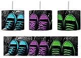 Türkis pink neon grüne Chucks black and white Black Background schwarz/weiß inkl. Lampenfassung E27, Lampe mit Motivdruck, tolle Deckenlampe, Hängelampe, Pendelleuchte - Durchmesser 30cm - Dekoration mit Licht ideal für Wohnzimmer, Kinderzimmer, Schlafzimmer