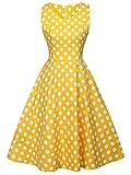 FAIRY COUPLE 50er V-Ausschnitt Rockabilly Polka Blumen Jahrgang Kleid Cocktail DRT072(3XL,Gelbe weiße Punkte)