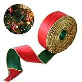 Nie-hu Weihnachtsbaum Girlande Wired Ribbon 2m rot grün Doppel Farben Ribbon Geschenkverpackung, Kranz Dekoration, Tree Topper Bow