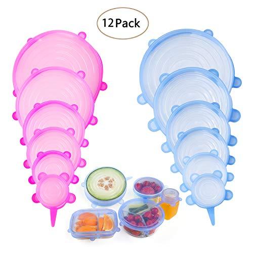 Ballery coperchio in silicone, 12 pezzi coperchi in silicone stretch coperchio in silicone estensibile di diverse dimensioni, per ciotole, piatti, barattoli, tazze