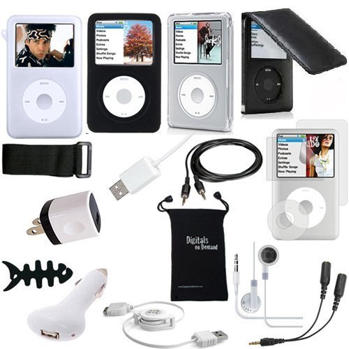 iPod Classic Case DigitalsOnDemand 15-Item Accessory Bundle for Apple iPod Classic 160GB 7th Gen 120GB 6th Gen- Black Leather Flip Case TPU Skin Cover Screen Protector USB Cables Chargers  available at amazon for Rs.3549