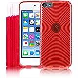 Kolay iPod Touch 6, Rouge Gel Housse en silicone + Protecteur d'écran + chaussette pour Apple iPod Touch 6G (6.GEN) 6ème génération