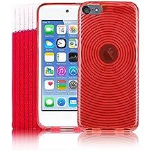 Kolay® iPod Touch 6 Funda, Rojo Funda de silicona Gel TPU Silicona, Protector de pantalla, Calcetín Cover para Apple iPod Touch 6 6G 6th Generation (6.GEN)