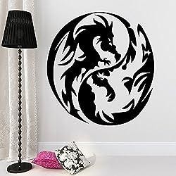 ditooms pared adhesivos vinilo de dragón Yin Yang símbolo vinilo adhesivo Animal de guardería infantil habitación dormitorio decoración arte