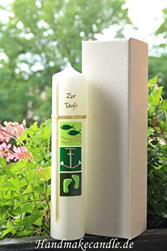 Taufkerze Mädchen Junge - in grün / 300x60 mm/Zubehör zum selbstbeschriften dabei. Verpackungskarton in Lederoptik kann für die Aufbewahrung der Kerze später benutzt werden. Handarbeit.