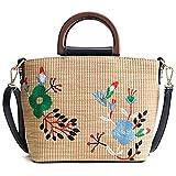 EUWK KUEJF Woven Schultertasche Stroh Sommer Frauen Weave Crossbody Beach Travel Handtasche Stickerei Frauen Messenger Bags