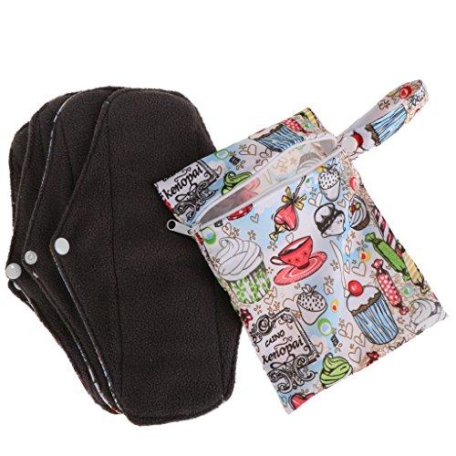 4 Stück Wiederverwendbare Kohle Bambus Slipeinlage Menstruation Pads mit Tasche für Damen und Frauen (25 x17cm) - # C -
