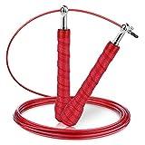 Gritin Springseil, 3M Stahlseil Jump Speed Rope seilspringen Profi Stahlkugellager leicht Verstellbare mit gemütlich Griff für Sport&Fitness-Ideal für:Boxen,Crossfit,MMA und Fitnessübungen
