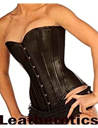 2512f6b6289 Black Leather With Leather Lining Full Steel Boned Corset 1919LL