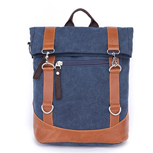&ZHOU Borsa di tela, Borsa a tracolla diagonale pacchetto borsa zaino computer borsa multifunzionale moda casual tela borsa unisex , black deep blue