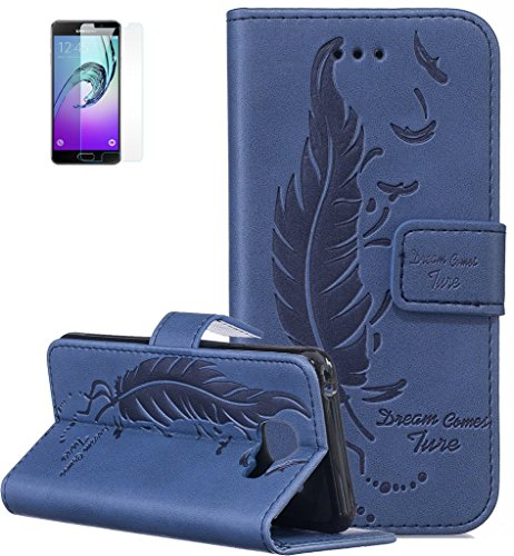 Produktbild ISENPENK Samsung Galaxy A3(2016)/G310F/A3(2016)Duos Flip Case,Original Flip Bookstyle Cover Wasserdicht Shockproof Anti Slip Protection Leather Case,Feder Print Muster Pattern Wallet Case mit Intern Karte Schlitz,Anti-Sturz Stoßfest Stoßdämpfend Triangle Hemming Wallet Tasche,Magnetic Closure Schutzhülle mit Standfunktion und Handy Gürtel für Samsung Galaxy A3(2016)/G310F/A3(2016)Duos 4.7Zoll-[blau]+Panzerglas Folie/Displayfoile/Displayschutzfolie
