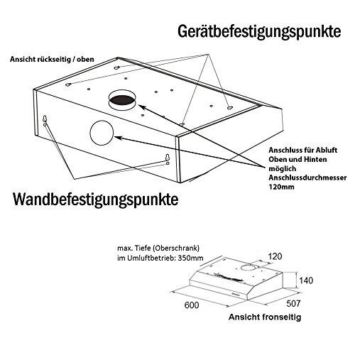 NEG Dunstabzugshaube NEG15 (weiß) Edelstahl-Unterbau-Haube - 6