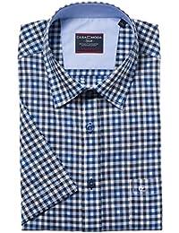 Casa Moda Hemd Comfort Fit Sports Edition Karo blau versteckter Button-Down Halbarm