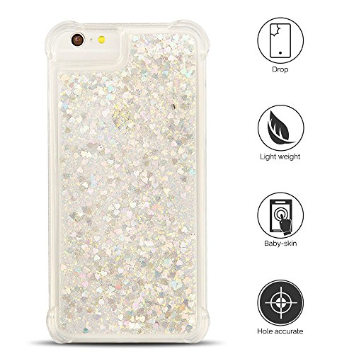 Cover iPhone 6 plus Custodia iPhone 6s plus Silicone Liquido Anfire Trasparente Flessibile Plastica TPU Case per Apple iPhone 6 plus/6s plus (4.7 Pollici) Sabbie Mobili Shell 3D Bling Glitter Floating Silver