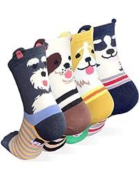 Women's Crew Socks 3-6 Pack by Ksocks, Fun Cool Cats Cartoon Sweet Animal Design Cotton Blend