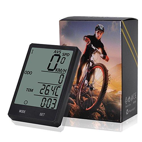 hrrad, Fahrrad-Tachometer, Radfahren Kilometerzähler, Multifunktion mit extra großen LCD-Hintergrundbeleuchtung Display wasserdicht (Extra Computer)