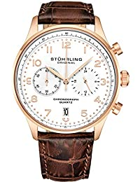 Stuhrling Original Mens Quartz Chronograph Dress Watch - Stainless Steel Case and Leather Band - Analog Dial with Date GR1-Q Mens Watches Collection (Rose Gold)