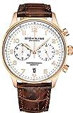 Stuhrling Original - Montre habillée avec chronographe à Quartz pour Homme - Boîtier en Acier Inoxydable et Bracelet en Cuir -...