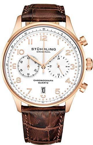 Stuhrling Original Mens Quartz Chronograph Dress Watch - Edelstahlgehäuse und Lederband - Analoges Zifferblatt mit Datumsanzeige GR1-Q Herrenuhrenkollektion (Rose Gold)