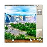 AmDxD Bad Vorhang Polyester Badewanne Wasserfall Pflanzen Form Badewannenvorhang für Badewanne Bunt 150x180CM