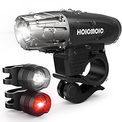 USB Rechargeable Bike Lights, Hoicmoic Bright Waterproof LED Bicycle Front and Rear Lights for Kids Men Women Safe Cycling, 1 Headlight, 1 Red Taillight and 1 White Bicycle Light for Versatile Usages