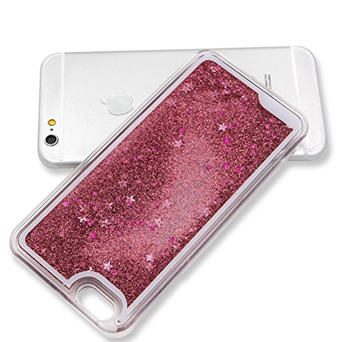 Custodia per iPhone 7 Plus Liquid Cover,SKYXD Brillante Scintillio Liquido Brillantini Acqua Stelle Rigida Dura Plastica Bumper Protettiva Case Backcover per iPhone 7 Plus 5.5 Custodia Cellulare Azzur Profondo Rosa