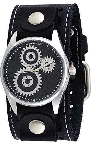 Nemesis #STH112K Men's The Machinist Wide Black Leather Band Faux Gear Dial Watch