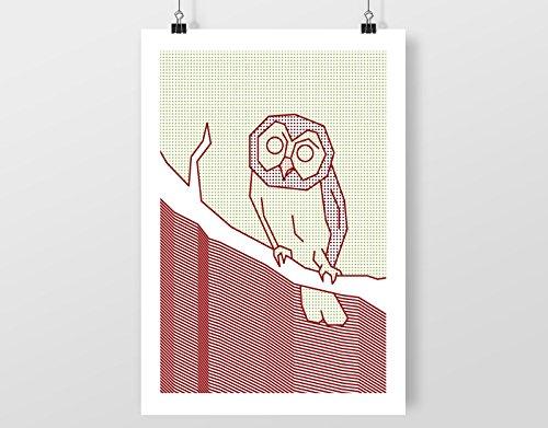 eule-punkt-matrix-flecken-a4-digital-kunst-drucken-mauer-dekor-poster-kunstdrucke