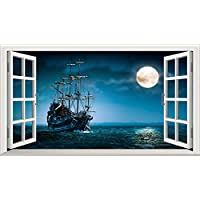 Ghost Pirate Ship V003 Magic Window Wall Sticker Self Adhesive Poster Wall Art Size 1000mm wide x 600mm deep (large)