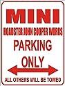INDIGOS - Parkplatz - Parking Only- Weiß-Rot - 32x24 cm - Alu Dibond - Parking Only - Parkplatzschild - Mini Roadster Cooper
