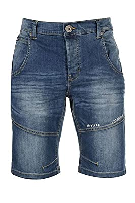 Mens Firetrap Corry Denim Shorts New Knee Length Casual Embossed Jean Pants
