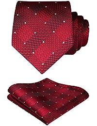 HISDERN Extra long Verifier Cravate Mouchoir Pour des hommes Cravate & Carre de poche Set