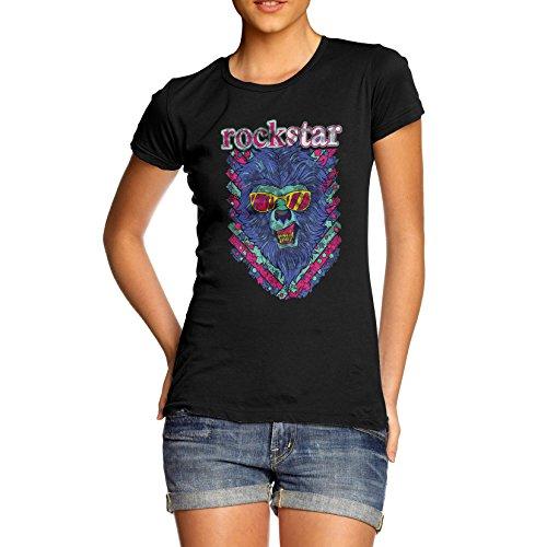 TWISTED ENVY Damen Baumwolle Lion Rock Star Print T-Shirt Gr. Large, schwarz (T-shirt Print Lion)