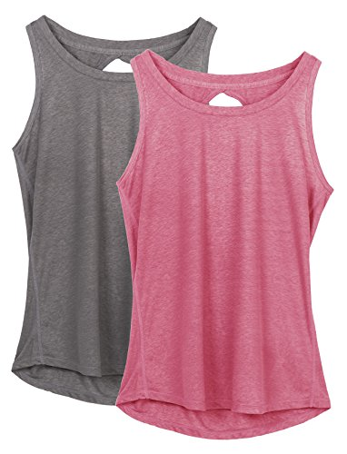 icyzone Damen Yoga Sport Tank Top - Rückenfrei Fitness Shirt Oberteil ärmellos Training Tops (L, Grey/Sugar Coral