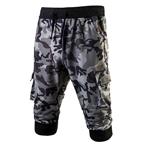 Sport Shorts Männer Herren Gym Fitness Jogging Elastische Stretchy Camo Bodybuilding Jogginghose GreatestPAK,Grau,L