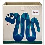 & # x272E; 3Sprouts & # x272E; Cubo de almacenaje para niños 100% poliéster | caja juguetes | color blanco crudo y azul–diseño: Serpiente | caja de almacenaje–Estructura reforzada | dimensiones: 33x 33x 33cm | muy alta calidad, original y práctica