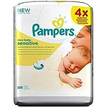 Pampers Toallitas Sensibles Nuevo Bebé (50 Por Paquete X 4) (Paquete ...