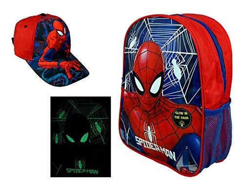 hi-lo Marvel Spider-Man Rucksack (nachtleuchtend) und Basecap (Rot, Basecap + Rucksack)