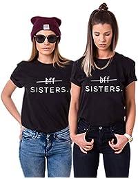 Mejores Amigas Camiseta BFF T-Shirt Best Friend 100% Algodón 2Piezas Impresión Sisters Camisa con Manga Corta para Mujer Hermana