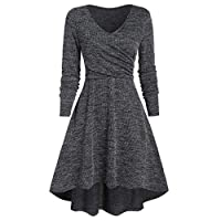 VonVonCo Fashion Women Solid Long Sleeve V-Neck Asymmetrical Cross Casual Prom Party Swing Dress Gray XXXL