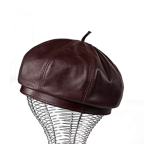 Jusheng Achteckiger Hut des Lederbaretts Winter-Herbst-Hut-Männer und Frauen-Hüte (Farbe : Schwarz, Größe : ()