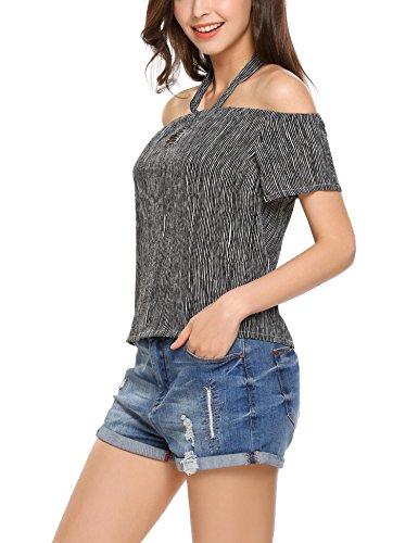 Meaneor Damen Schulterfrei Shirt Geblümtes Top Trägelose Strand Bluse Neckholder Oberteil in 3 Farbe schwarz weiß Gestreift